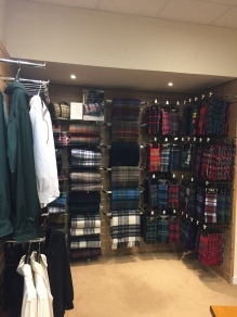 Clothing with different tartans in Scotland.
