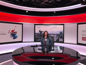 Never want to be an anchor, but at least I have one photo of my sitting at the BBC Scotland desk.