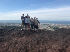 Group picture after a hike up Arthur's Seat in Edinburgh.