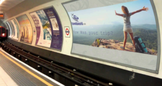A variety of small and large scale advertisements throughout the tube station.